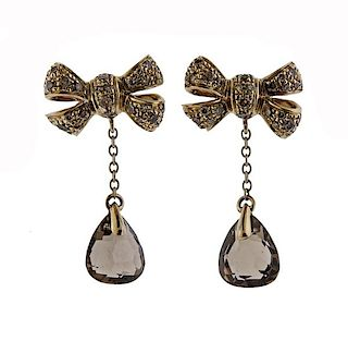 Pomellato Forever 18k Gold Diamond Smoky Quartz Bow Drop Earrings