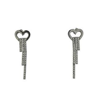 14k Gold Diamond Heart Drop Earrings