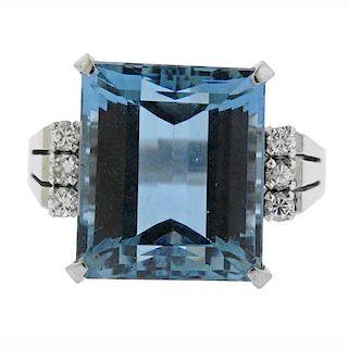 Platinum Diamond 15.84Ct Blue Stone Filigree Ring