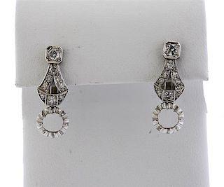 Art Deco 18K Gold Diamond Earrings Setting