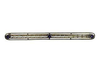 Antique 14K Gold Amethyst Bar Brooch Pin