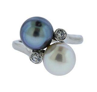 Platinum Diamond Pearl Bypass Ring