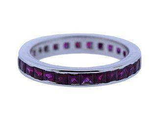 14K Gold Ruby Eternity Wedding  Band Ring
