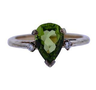 Tiffany & Co 14K Gold Diamond Green Stone Ring
