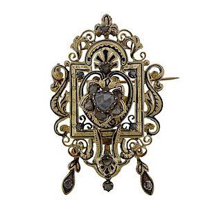Antique Victorian 18K Gold Rose Cut Diamond Brooch Pendant