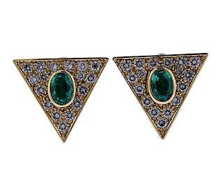 18K Gold Diamond Emerald Triangle Earrings