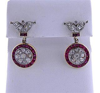 18K Gold Platinum Diamond Red Stone Earrings