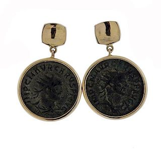 18K Gold Ancient Coin Earrings