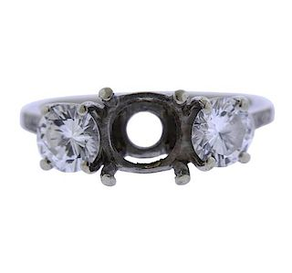 Platinum 14K Gold Diamond Three Stone Ring Mounting