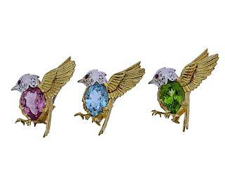 18K Gold Diamond Colored Stone Bird Brooch Lot of 3