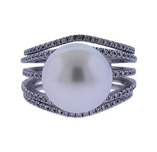 18K Gold Diamond South Sea Pearl Ring