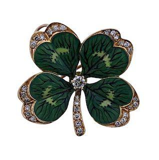 14K Gold Diamond Enamel Clover Brooch Pendant
