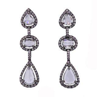 18K Gold Diamond Dangle Earrings