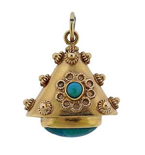 Etruscan 18K Gold Green Stone Pendant
