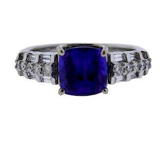 Platinum 3.50ct Tanzanite Diamond Ring