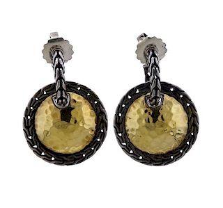 John Hardy 22K Gold Silver Drop Hoop Earrings
