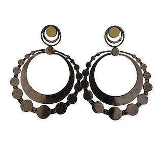 John Hardy Dot Sterling 18K Gold Hoop Earrings