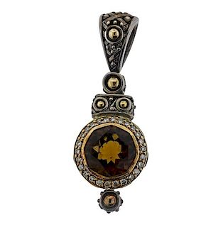 John Hardy 18k Gold Silver Diamond Gemstone Pendant