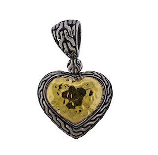 John Hardy 22k Gold Silver Heart Pendant