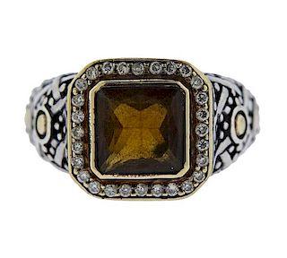 John Hardy 18K Gold Silver Diamond Orange Stone Ring