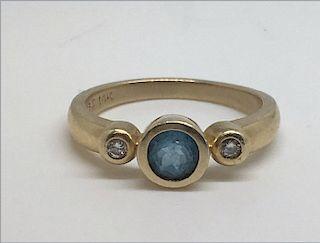 BLUE ZIRCON & DIAMOND RING BEZEL SET IN 14K GOLD