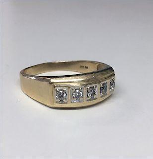 MENS 5 STONE DIAMOND RING SET IN 14KT YELLOW GOLD