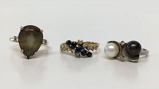 3- 14KT GOLD RINGS, DOUBLE PEARL, TOPAZ &