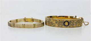 10KT YELLOW GOLD BRACELET  & GOLD FILLED BANGLE