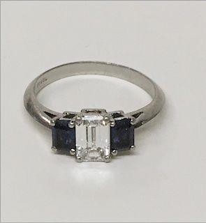 TIFFANY EMERALD CUT DIAMOND SOLITAIRE FLANKED BY