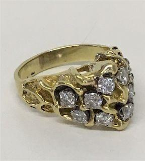 14KT GOLD & DIAMOND CUSTOM MADE CLUSTER RING