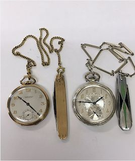 2 POCKET WATCHES ,1- 14KT YELLOW GOLD ULYSSE