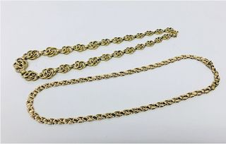 2- 14KT YELLOW GOLD ITALIAN CHAIN NECKLACES
