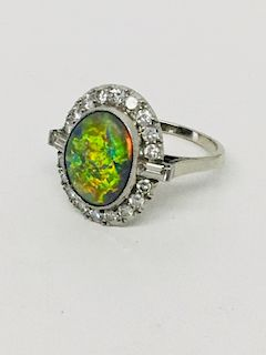 14KT WH GOLD RING W/ 3.6 CARAT BLACK OPAL IN PLAT.