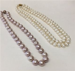 2 STRANDS OF PEARLS: DOUBLE STRAND BAROQUE 8 1/2