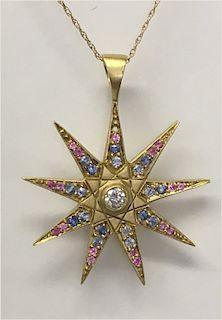 18KT YELLOW GOLD, DIAMOND, SAPPHIRE &