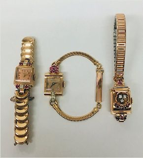 3 VINTAGE WRIST WATCHES IN ROSE GOLD W/ DIAMONDS
