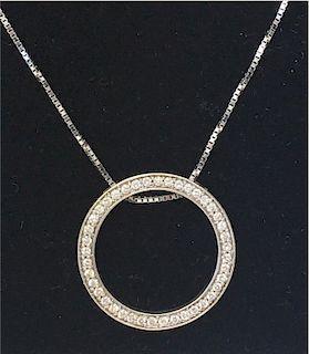 DIAMOND CIRCLE PENDANT SET IN 14K WHITE GOLD ON