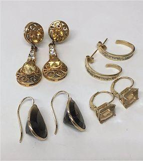 4 PR OF EARRINGS, 14K YELLOW GOLD W/ DIAMONDS &