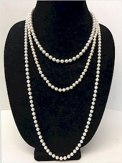 """3 STRANDS OF PEARLS: 1 - 19"""" LONG  (6 1/2""""MM)"""