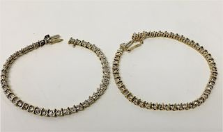 2 DIAMOND & 14K YELLOW GOLD TENNIS BRACELETS