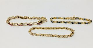 3 14K YELLOW GOLD BRACELETS: DIAMOND, PINK & WHITE