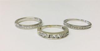 3 DIAMOND BANDS, 2 14K WHITE GOLD & 1 PLATINUM