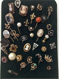 COLLECTION OF STICK PINS, SOME W/ DIAMONDS, PEARLS