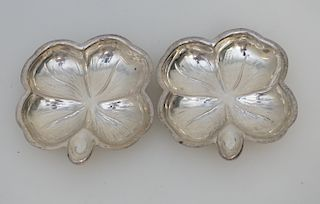 2 STERLING CLOVER NUT DISHES