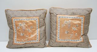 2 CHINESE EMBROIDERED SILK PILLOWS