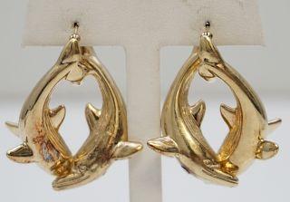 14KT GOLD WHALE EARRINGS (9.90 GRAMS)