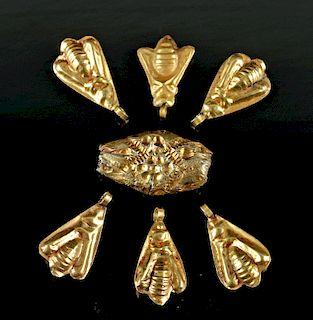 Six Egyptian Gold Flies & Silver Cylinder Bead 2.2 g