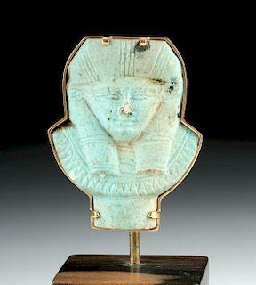 Egyptian Faience Amulet of Hathor / 24K Gold Pin
