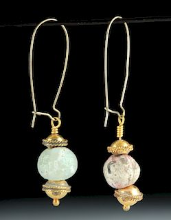 Hellenistic 16K Gold / Ancient Glass Earrings (pr)