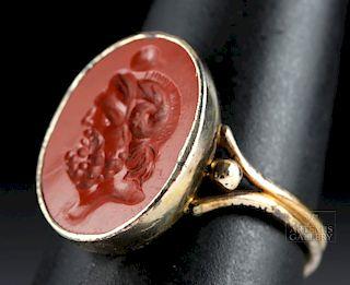 12K Gold Ring w/ Roman Jasper Intaglio of Jupiter